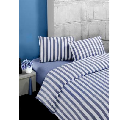 Постельное белье трикотажное Karna Melan (голубое)