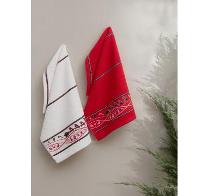 Салфетки махровые с вышивкой Karna Christmas V1 (30x50, 2 предмета)