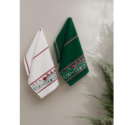 Салфетки махровые с вышивкой Karna Christmas V2 (30x50, 2 предмета)