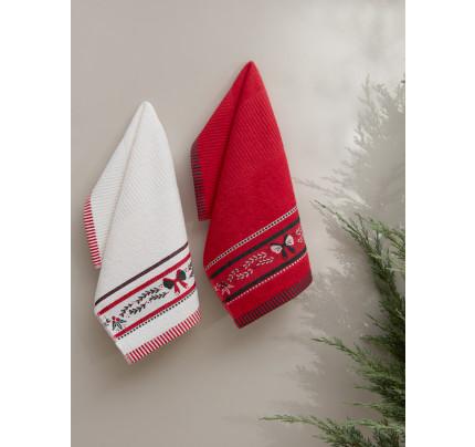 Салфетки махровые с вышивкой Karna Christmas V3 (30x50, 2 предмета)