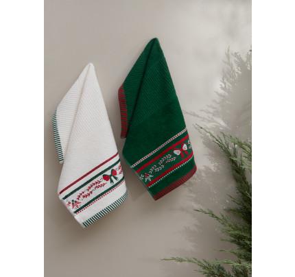 Салфетки махровые с вышивкой Karna Christmas V4 (30x50, 2 предмета)