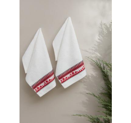 Салфетки махровые с вышивкой Karna Christmas V5 (30x50, 2 предмета)