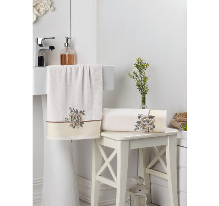 Набор полотенец Karna в коробке Florya (кремовый, 2 предмета)