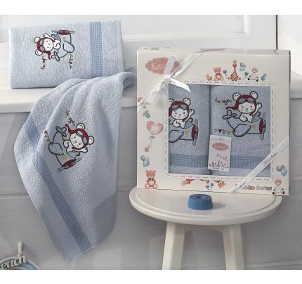 Набор полотенец Karna Bambino Samalot (2 предмета, голубой)