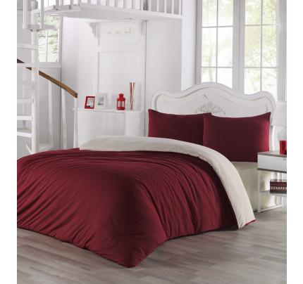 Постельное белье Karna Sofa (кремовый-бордовый)