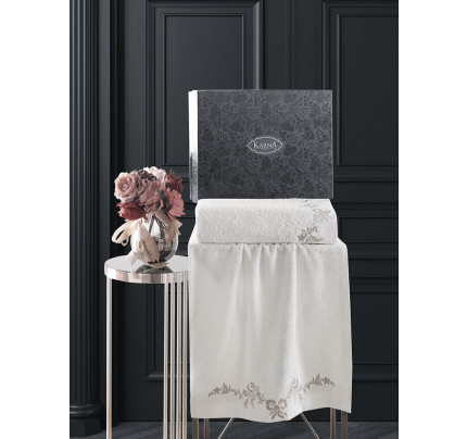 Набор полотенец Karna Valor (кремовый, 2 предмета)