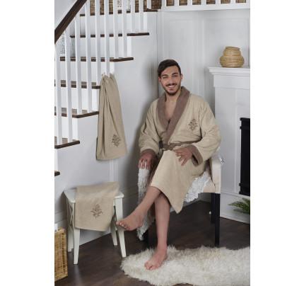 Набор халат + полотенца Karna Adra 3 предмета (бежевый)