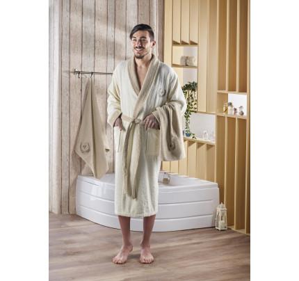 Набор халат + полотенца Karna Adra 3 предмета (кремовый)