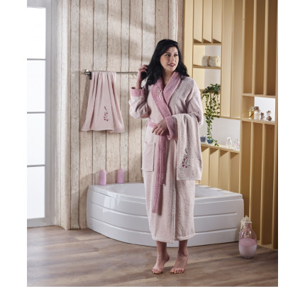 Набор халат + полотенца Karna Adra 3 предмета (пудра)
