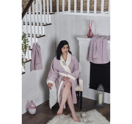 Набор халат + полотенца Karna Adra 3 предмета (светло-лавандовый)