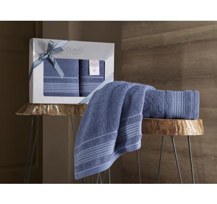 Набор полотенец Karna Ladin (индиго синий, 2 предмета)