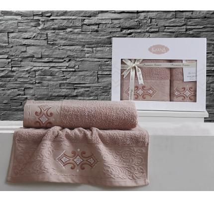 Набор полотенец Karna Galata (грязно-розовый, 2 предмета)