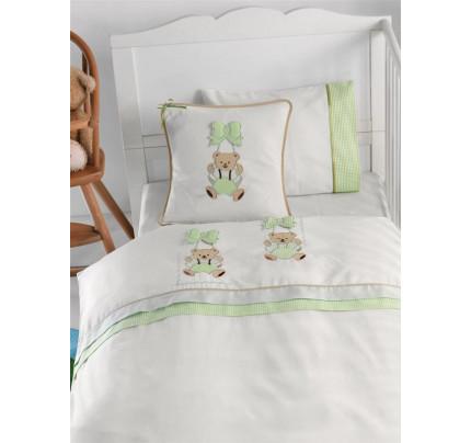 Детское белье в кроватку с медвежатами Gelin BEBE зеленое