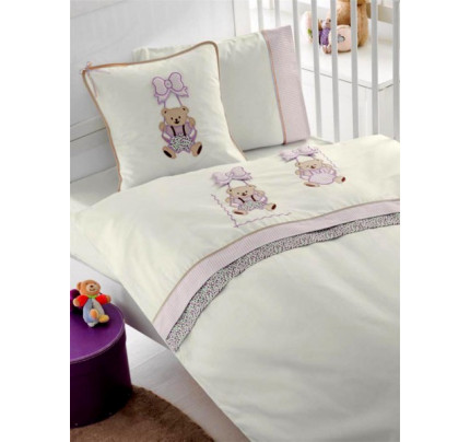 Детское белье в кроватку + вафельное покрывало Gelin Sallanan BEBE (лиловый)