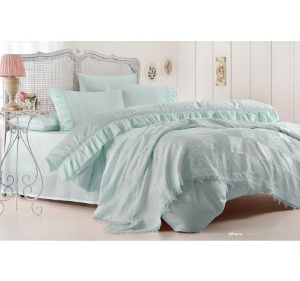 Набор постельного белья с покрывалом Gelin Home Hanzade (бирюзовый) евро