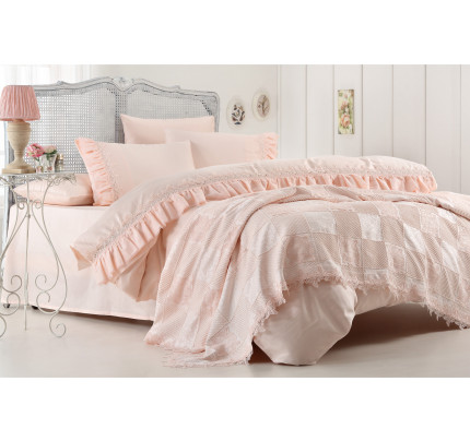 Набор постельного белья с покрывалом Gelin Home Hanzade (персиковый) евро