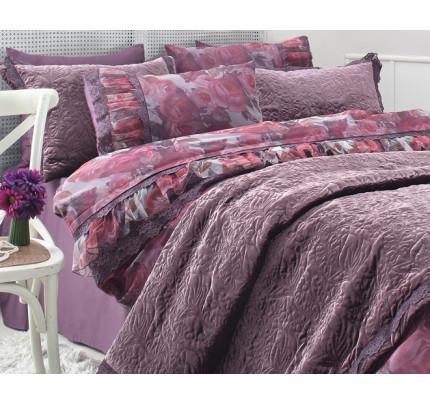 Набор постельного белья с покрывалом Gelin Home Ebru (фиолетовый) евро