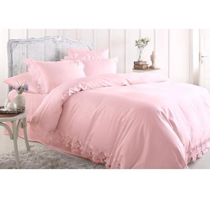 Свадебное постельное белье Gelin Home Venedik (розовое) евро