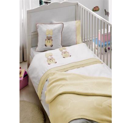 Детское белье в кроватку + вязаное покрывало Gelin Orgu (бежевый)