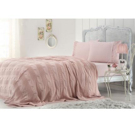 Набор с вязаным пледом Gelin Home Anna (розовый) евро