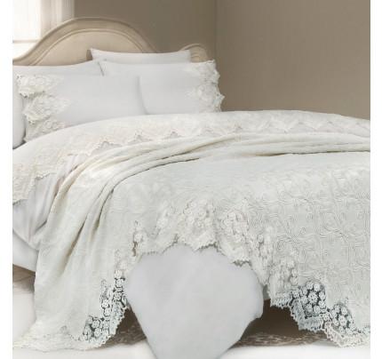 Набор постельного белья с покрывалом Gelin Home Donna Delux (белый) евро