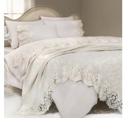 Набор постельного белья с покрывалом Gelin Home Donna Delux (кремовый) евро