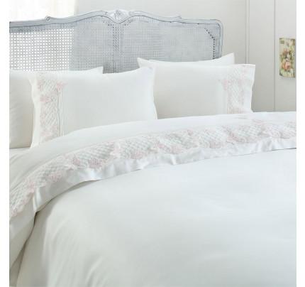 Свадебное постельное белье Gelin Home Kelebek (белое) евро