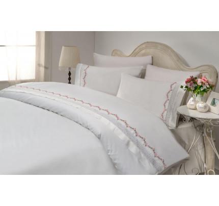 Свадебное постельное белье Gelin Home Mimoza (белый) евро