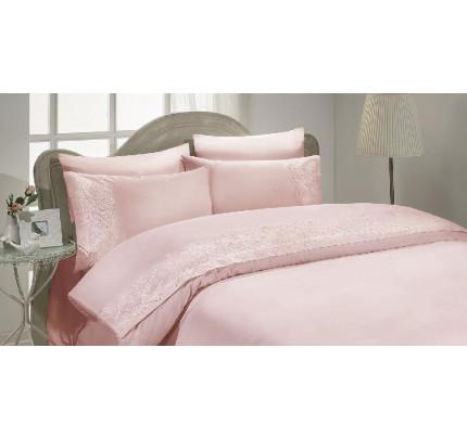 Свадебное постельное белье Gelin Home Pelin (грязно-розовый) евро