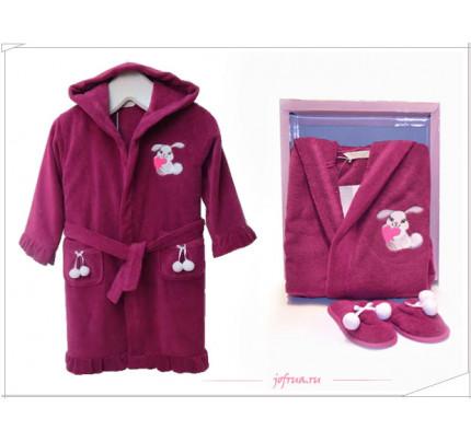 Халатик детский Soft cotton Зайка Bunny (фиолетовый)