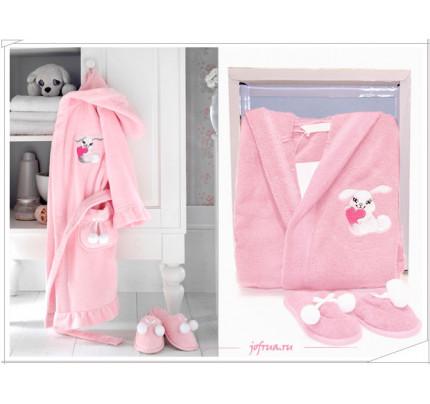 Халатик детский Soft cotton Зайка Bunny (розовый)