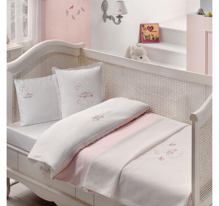 Набор в кроватку с покрывалом Tivolyo Happy (розовый)