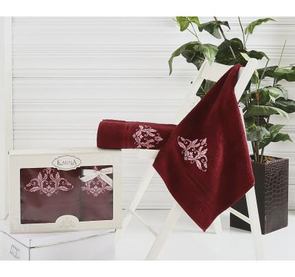 Набор полотенец Karna Agra (бордовый, 2 предмета)