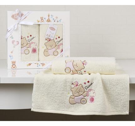 Набор полотенец Karna Bambino Bear (2 предмета, молочный)