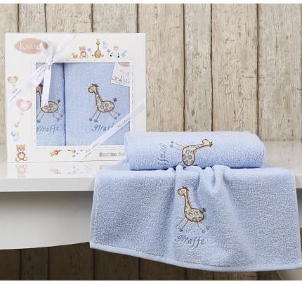 Набор полотенец Karna Bambino Giraffe (2 предмета, голубой)
