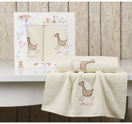Набор полотенец Karna Bambino Giraffe (2 предмета, молочный)