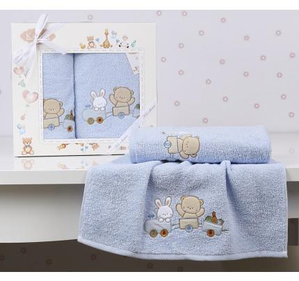 Набор полотенец Karna Bambino Train (2 предмета, голубой)