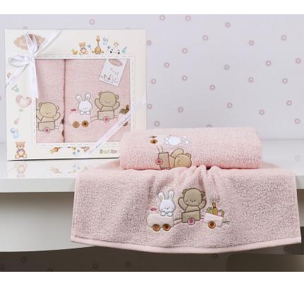 Набор полотенец Karna Bambino Train (2 предмета, розовый)