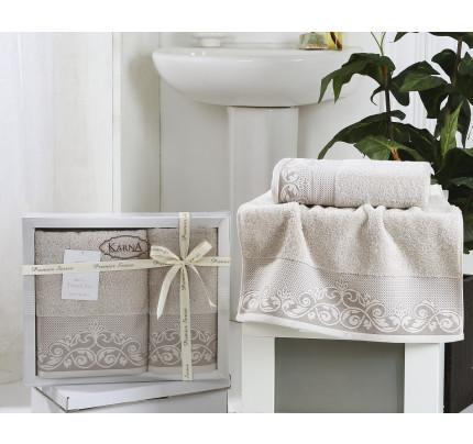 Набор полотенец Karna Beyza (серо-бежевый, 2 предмета)