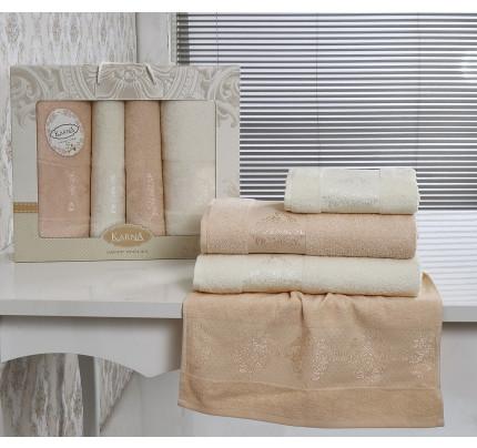 Набор полотенец Karna Dora (кремовый-абрикосовый, 4 предмета)