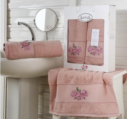 Набор полотенец Karna Havin (грязно-розовый, 2 предмета)