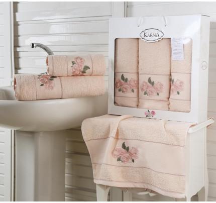 Набор полотенец Karna Havin (абрикосовый, 3 предмета)