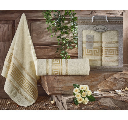 Набор полотенец Karna Iteka (кремовый, 2 предмета)