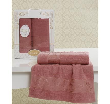 Набор полотенец Karna Lauren (грязно-розовый, 2 предмета)