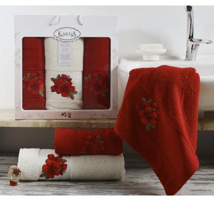 Набор полотенец Karna Orkide (бордовый, 3 предмета)