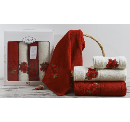 Набор полотенец Karna Orkide (бордовый, 4 предмета)
