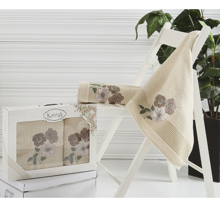 Набор полотенец Karna Sandy (бежевый, 2 предмета)