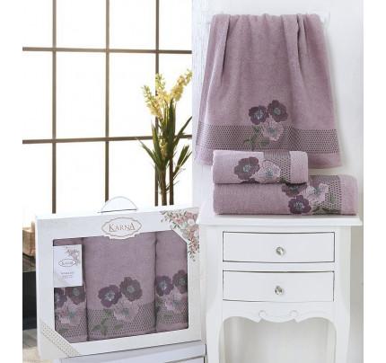 Набор полотенец Karna Sandy (светло-лавандовый, 3 предмета)