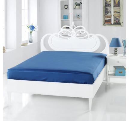 Сатиновая простынь Karna Servan (синяя)