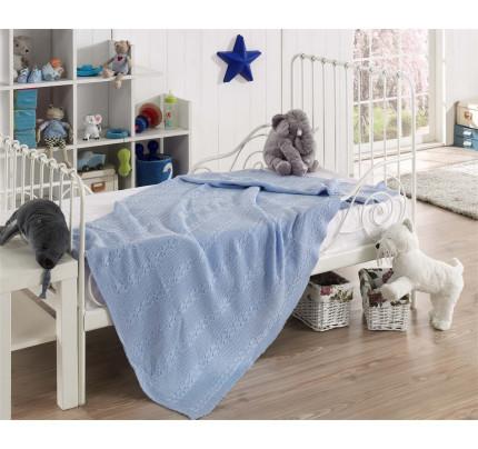 Детский вязаный плед Karna Silvia (голубой) 100x150